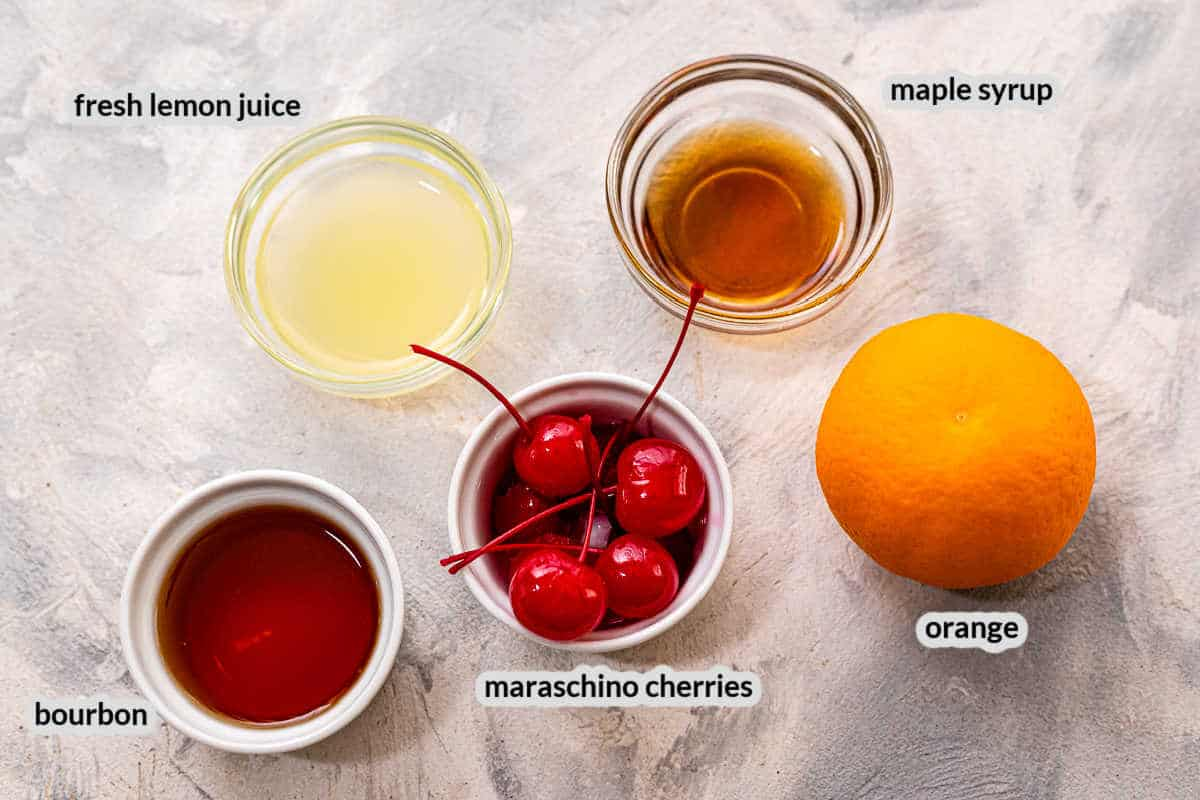 Overhead image of Whiskey Sour Ingredients
